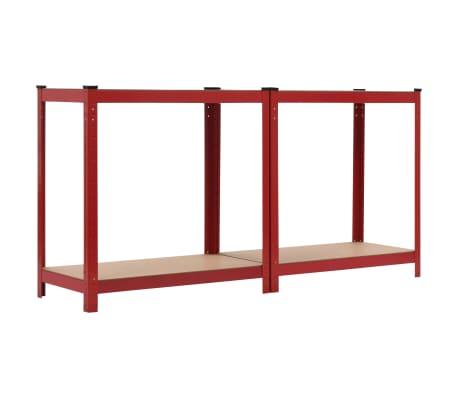 vidaXL Rafturi depozitare, 2 buc., roșu, 80x40x160 cm, oțel și MDF[5/10]