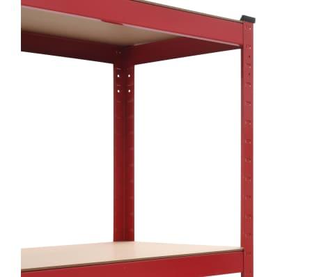 vidaXL Rafturi depozitare, 2 buc., roșu, 80x40x160 cm, oțel și MDF[6/10]
