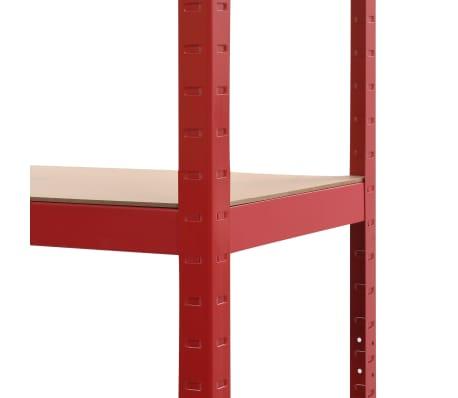 vidaXL Rafturi depozitare, 2 buc., roșu, 80x40x160 cm, oțel și MDF[8/10]