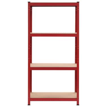 vidaXL Rafturi depozitare, 2 buc., roșu, 80x40x160 cm, oțel și MDF[3/10]