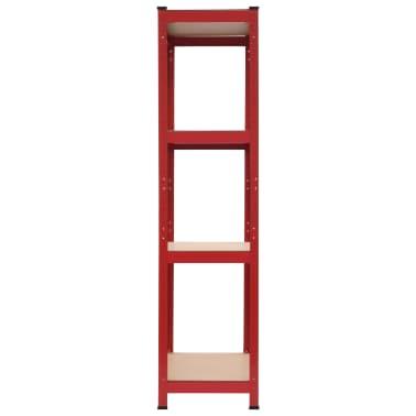 vidaXL Rafturi depozitare, 2 buc., roșu, 80x40x160 cm, oțel și MDF[4/10]