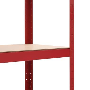 vidaXL Rafturi depozitare, 2 buc., roșu, 80x40x160 cm, oțel și MDF[7/10]
