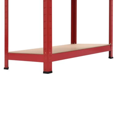 vidaXL Rafturi depozitare, 2 buc., roșu, 80x40x160 cm, oțel și MDF[9/10]