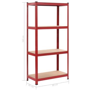 vidaXL Rafturi depozitare, 2 buc., roșu, 80x40x160 cm, oțel și MDF[10/10]