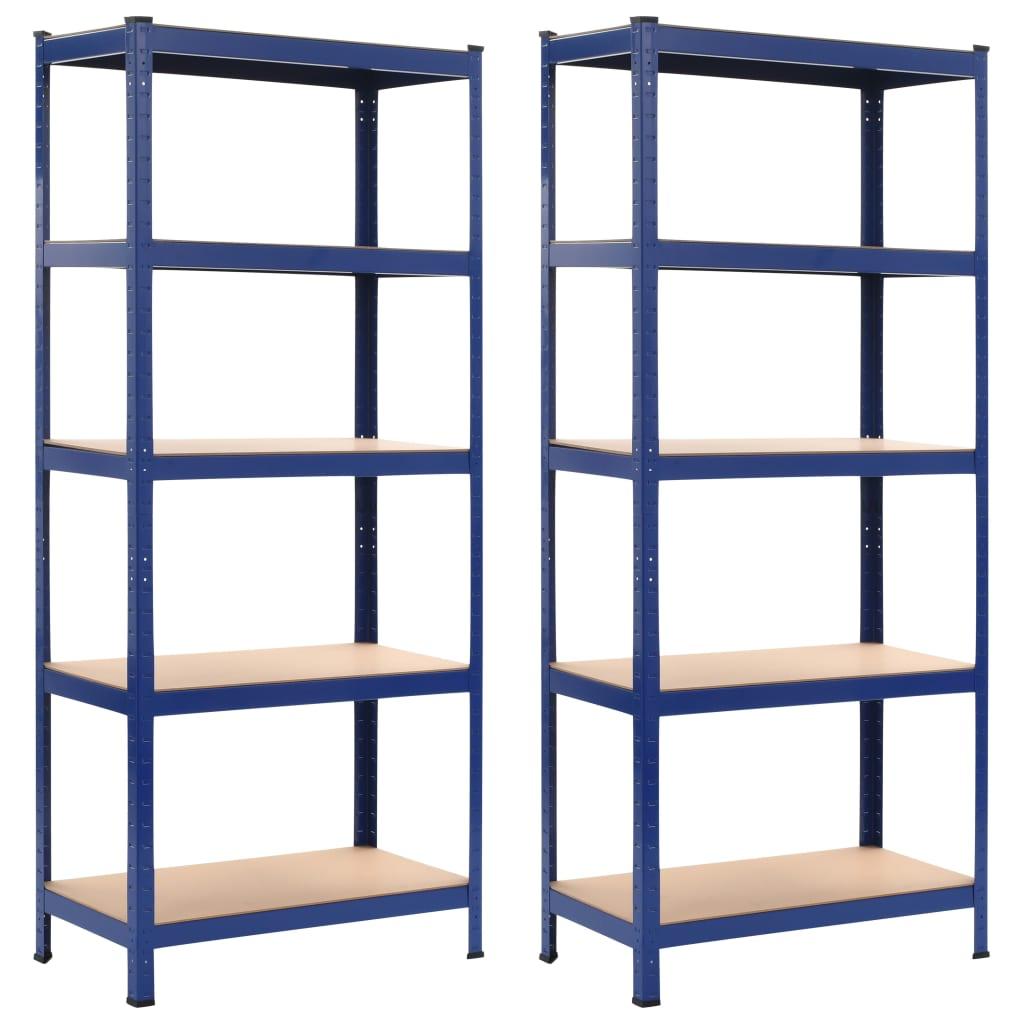 vidaXL Rafturi depozitare, 2 buc., albastru, 80x40x180 cm, oțel și MDF vidaxl.ro