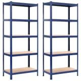 vidaXL Förvaringshyllor 2 st blå 80x40x180 cm stål och MDF