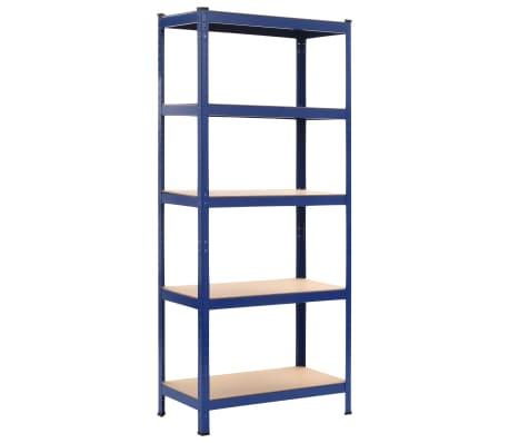 vidaXL Lentynos, 2vnt., mėlynos, 80x40x180cm, plienas ir MDF[2/10]