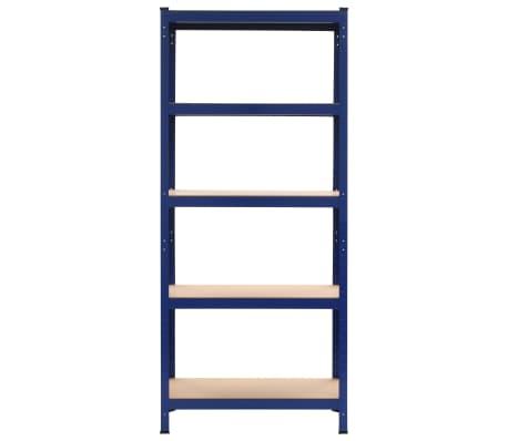 vidaXL Lentynos, 2vnt., mėlynos, 80x40x180cm, plienas ir MDF[3/10]