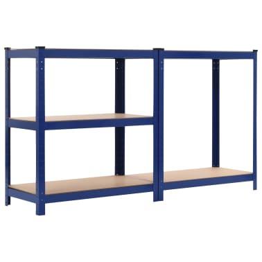 vidaXL Lentynos, 2vnt., mėlynos, 80x40x180cm, plienas ir MDF[5/10]