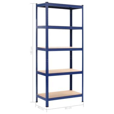 vidaXL Lentynos, 2vnt., mėlynos, 80x40x180cm, plienas ir MDF[10/10]