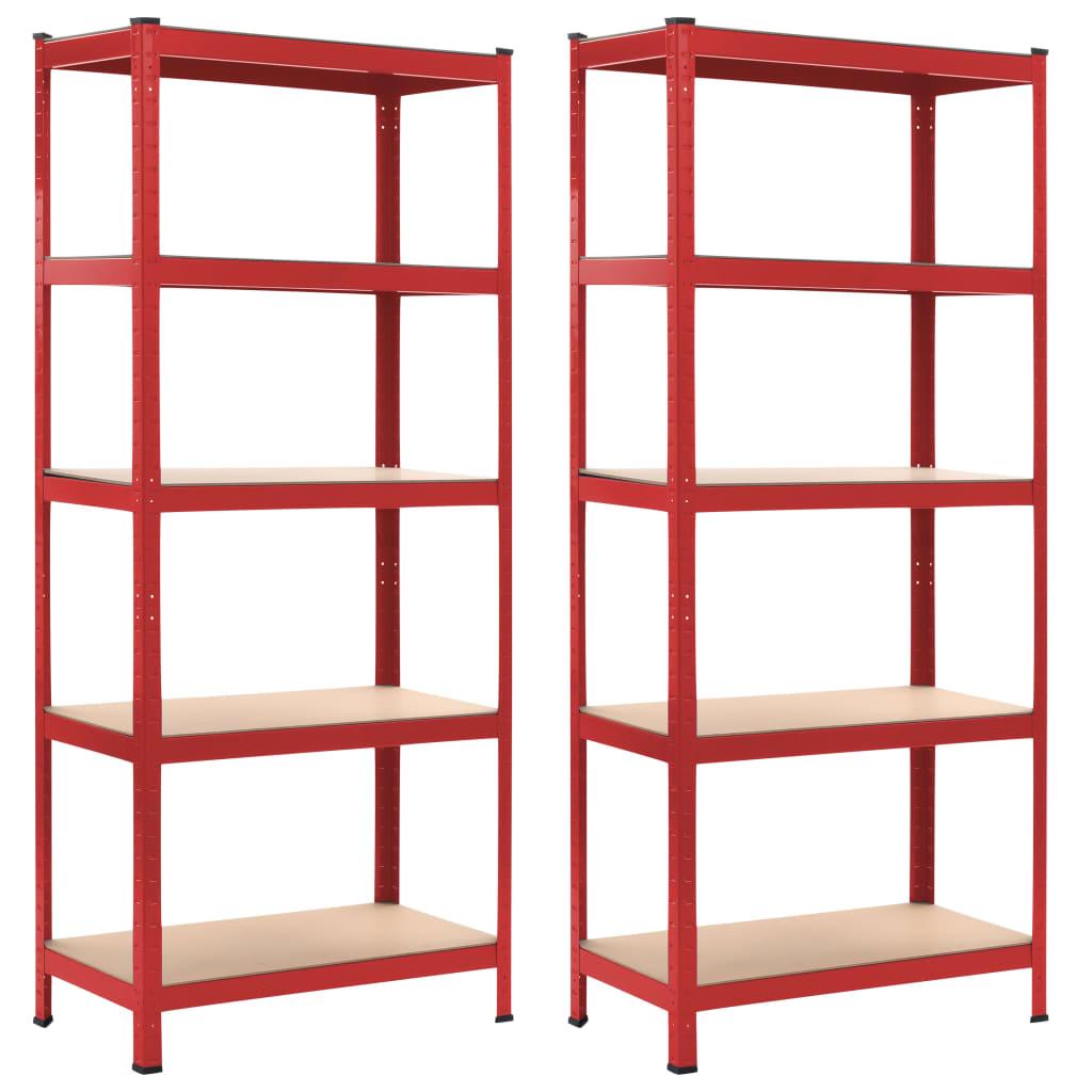 vidaXL Rafturi depozitare, 2 buc., roșu, 80x40x180 cm, oțel și MDF vidaxl.ro