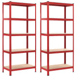 "vidaXL Storage Shelves 2 pcs Red 31.5""x15.7""x70.9"" Steel and MDF"