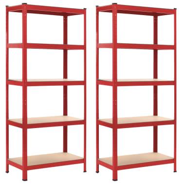 vidaXL Rafturi depozitare, 2 buc., roșu, 80x40x180 cm, oțel și MDF[1/10]