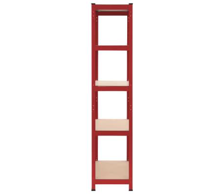 vidaXL Rafturi depozitare, 2 buc., roșu, 80x40x180 cm, oțel și MDF[4/10]
