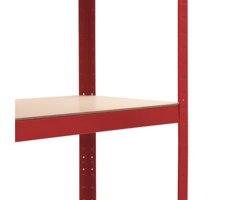 vidaXL Rafturi depozitare, 2 buc., roșu, 80x40x180 cm, oțel și MDF[7/10]