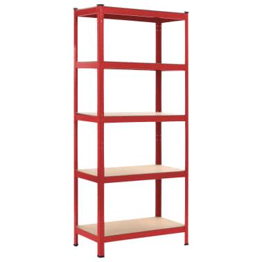 vidaXL Rafturi depozitare, 2 buc., roșu, 80x40x180 cm, oțel și MDF[2/10]