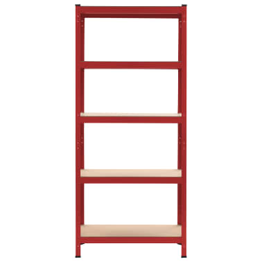 vidaXL Rafturi depozitare, 2 buc., roșu, 80x40x180 cm, oțel și MDF[3/10]