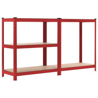 vidaXL Rafturi depozitare, 2 buc., roșu, 80x40x180 cm, oțel și MDF[5/10]