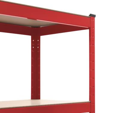 vidaXL Rafturi depozitare, 2 buc., roșu, 80x40x180 cm, oțel și MDF[6/10]