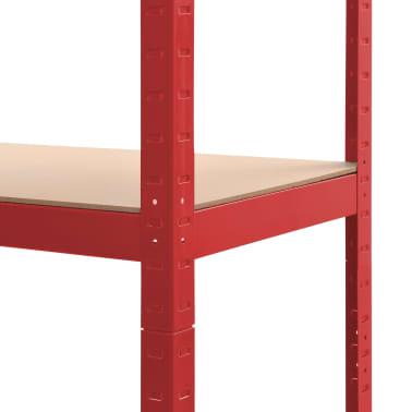 vidaXL Rafturi depozitare, 2 buc., roșu, 80x40x180 cm, oțel și MDF[8/10]
