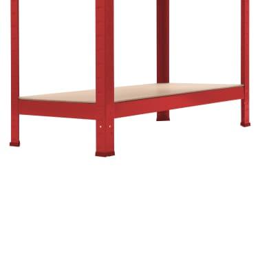vidaXL Rafturi depozitare, 2 buc., roșu, 80x40x180 cm, oțel și MDF[9/10]