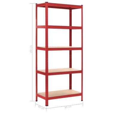 vidaXL Rafturi depozitare, 2 buc., roșu, 80x40x180 cm, oțel și MDF[10/10]