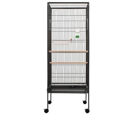 """vidaXL Bird Cage Gray 21.3""""x21.3""""x57.5"""" Steel[2/8]"""