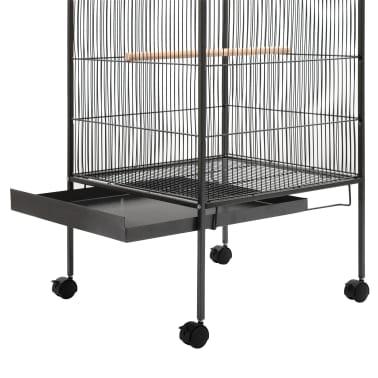 """vidaXL Bird Cage Gray 21.3""""x21.3""""x57.5"""" Steel[4/8]"""