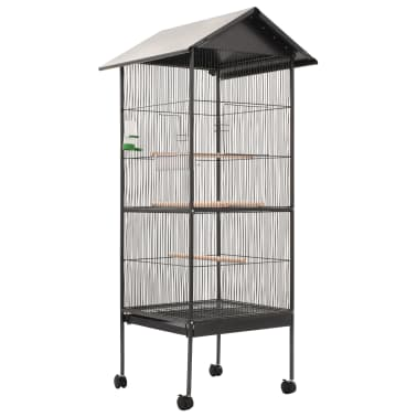 "vidaXL Bird Cage with Roof Gray 26""x26""x61"" Steel[1/8]"