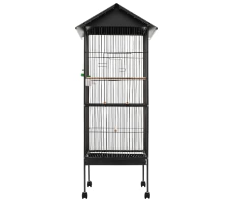 "vidaXL Bird Cage with Roof Gray 26""x26""x61"" Steel[2/8]"