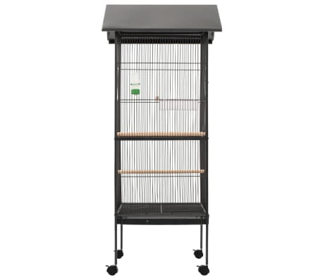 "vidaXL Bird Cage with Roof Gray 26""x26""x61"" Steel[3/8]"