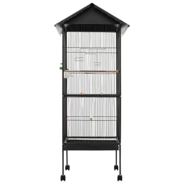 "vidaXL Bird Cage with Roof Gray 26""x26""x61"" Steel[2/8]"