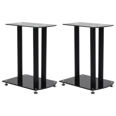 vidaXL Aluminum Speaker Stands 2 pcs Black Safety Glass[1/6]