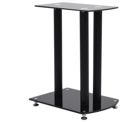 vidaXL Aluminum Speaker Stands 2 pcs Black Safety Glass[2/6]