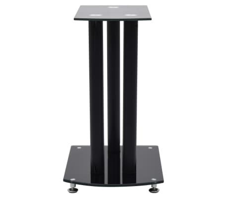 vidaXL Aluminum Speaker Stands 2 pcs Black Safety Glass[4/6]