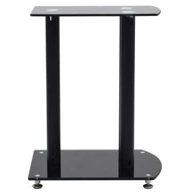 vidaXL Aluminum Speaker Stands 2 pcs Black Safety Glass[3/6]
