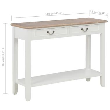 vidaXL Konsolinis staliukas, baltos sp., 110x35x80cm, mediena[8/8]