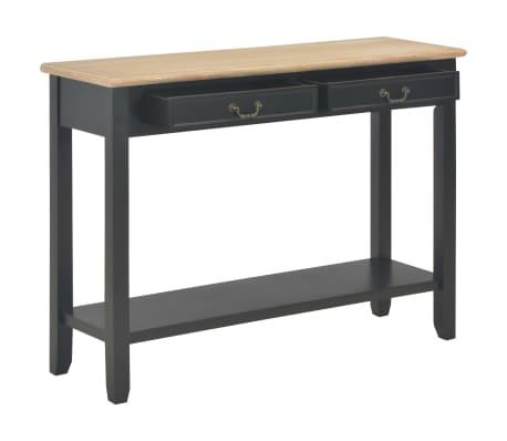 vidaXL Konsolinis staliukas, juodas, 110x35x80cm, mediena[2/8]
