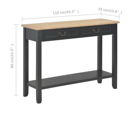 vidaXL Konsolinis staliukas, juodas, 110x35x80cm, mediena[8/8]