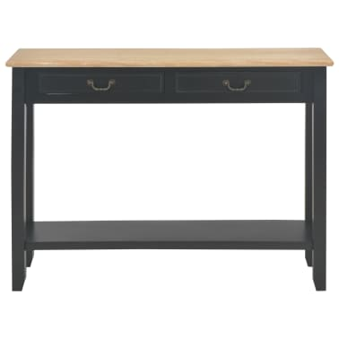vidaXL Konsolinis staliukas, juodas, 110x35x80cm, mediena[3/8]