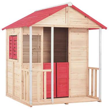 vidaXL Casa de juegos de niños madera roja[1/8]