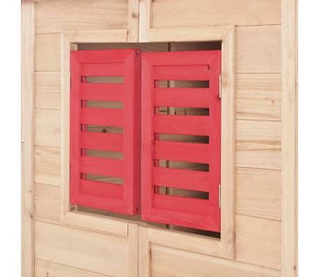 vidaXL Casa de juegos de niños madera roja[6/8]
