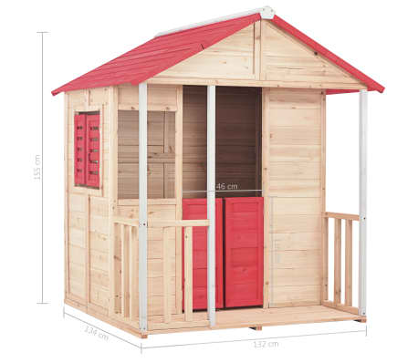 vidaXL Casa de juegos de niños madera roja[8/8]