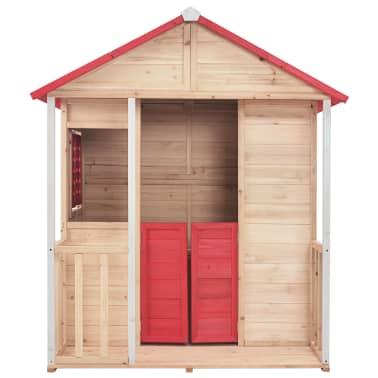 vidaXL Casa de juegos de niños madera roja[3/8]