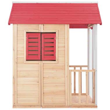 vidaXL Casa de juegos de niños madera roja[4/8]