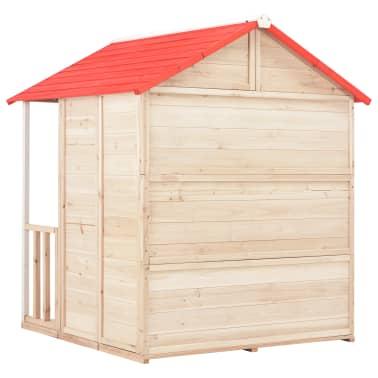 vidaXL Casa de juegos de niños madera roja[5/8]