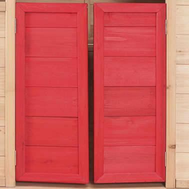 vidaXL Casa de juegos de niños madera roja[7/8]