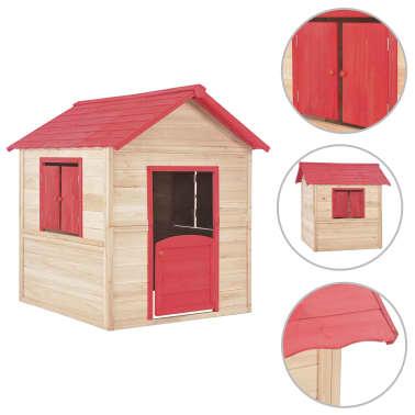 vidaXL Casa de juegos de niños madera roja[1/9]