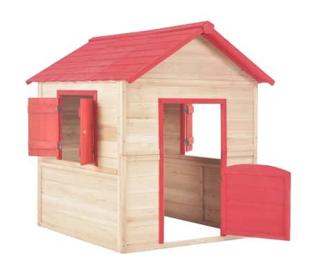 vidaXL Casa de juegos de niños madera roja[3/9]