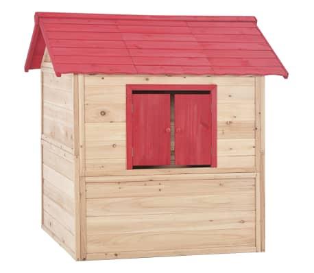 vidaXL Casa de juegos de niños madera roja[6/9]